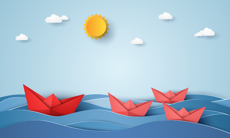 Leadership concept, origami boat sailing in blue ocean, paper art style illustration. Illustration