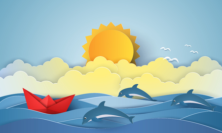 Sea with origami boat and dolphins and sun , paper art style