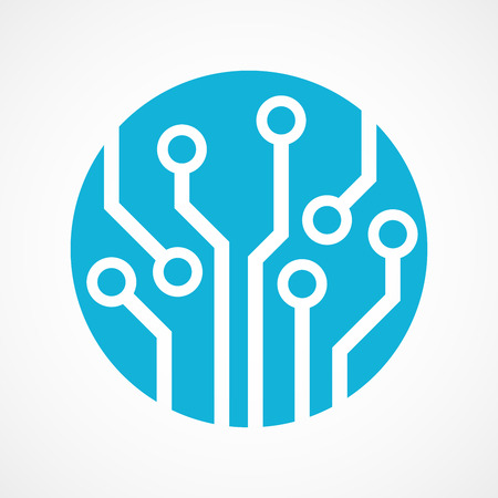 Circuit board isolated , technology icon
