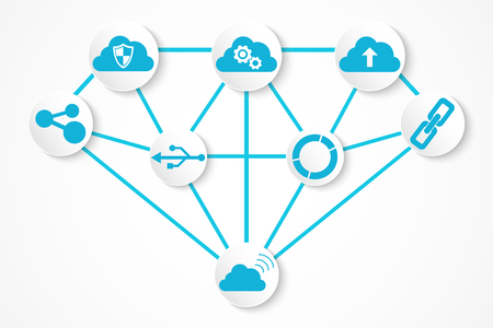 Digital technology icons , connection concept with diamond structure