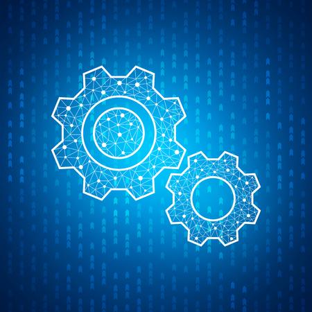 Technology gear icon , Blue speed digital pattern , matrix background