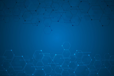 Abstract blue hexagon background , Technology polygonal concept with copy space