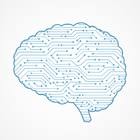 Abstract blue circuit board , brain shape
