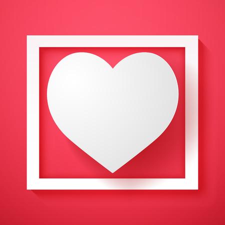 White heart shape in frame , paper art style