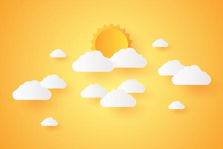 Heure d'été, Cloudscape, ciel avec nuages et soleil, style art papier