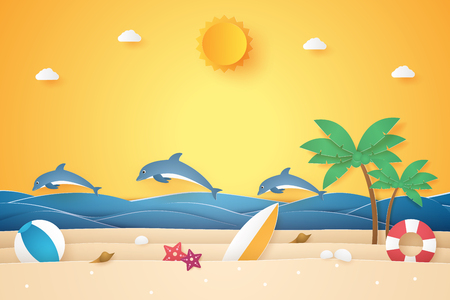 Summer time , sea and beach with dolphins and graphic element, paper art style Stock Illustratie