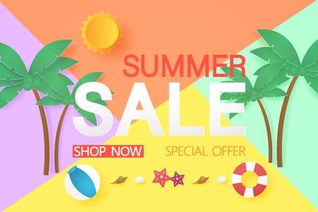 Summer sale with stuff , paper art style Stock Illustratie