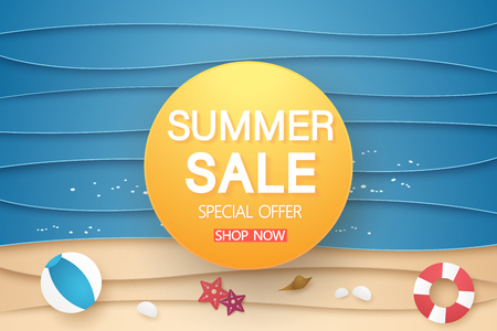 summer sale banner with abstract sea and beach with graphic element, paper art style Stock Illustratie