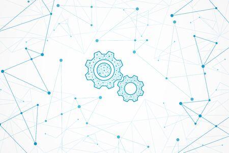 Sfondo geometrico astratto, concetto di connessione, icona dell'ingranaggio tecnologico Vettoriali