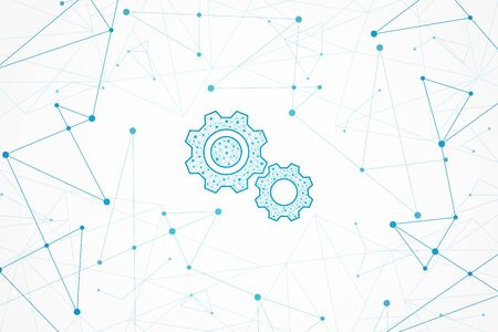Streszczenie tło geometryczne, koncepcja połączenia, ikona koła zębatego technologii Ilustracje wektorowe
