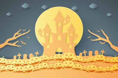 Halloween pumpkin pattern with castle, paper art style