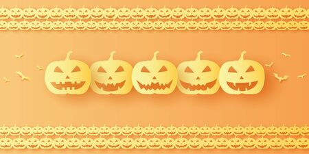 Halloween pumpkin background, paper art style