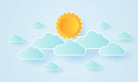 Cloudscape, blue sky with clouds and bright sun, paper art style Stock Illustratie