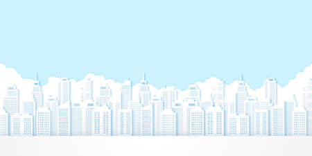 Cityscape, building with blue sky, paper art style