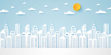 Cityscape, building with blue sky and a bright sun, paper art style Illustration