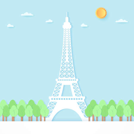 Eiffel tower surrounded by trees, blue sky and sun, paper art style 向量圖像