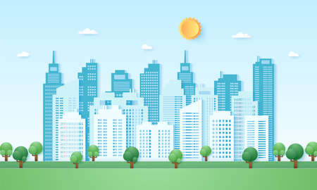 Eco city, cityscape, building with blue sky and sun, paper art style