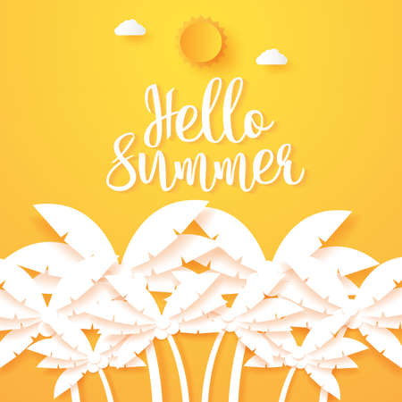 Hello Summer, coconut palm tree with sun and cloud, paper art style