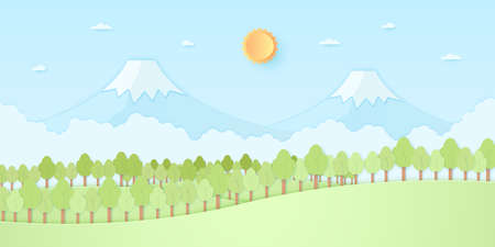 Nature hill, mountain, trees with sun and blue sky, paper art style