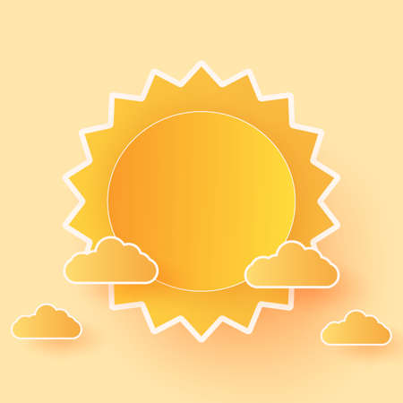 Summer Time, Cloudscape, bright sky with clouds and sun, paper art style Stock Illustratie