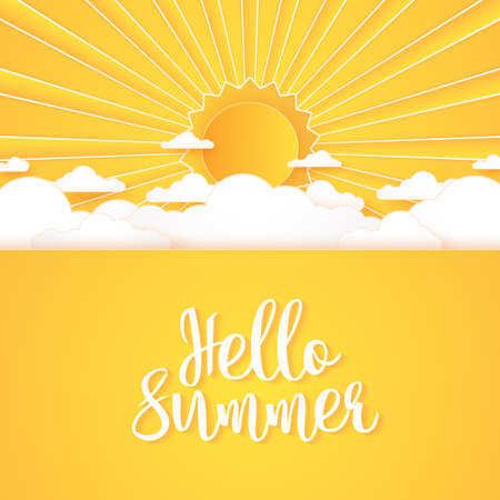 Hello Summer, Cloudscape, bright cloud sky and sun with lettering, paper art style Stock Illustratie