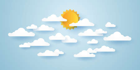 Cloudscape, blue sky with clouds and sun, paper art style