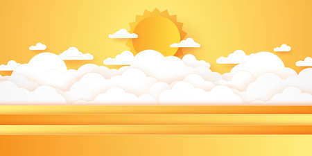 Summer Time, Cloudscape, cloudy sky with bright sun, paper art style Stock Illustratie