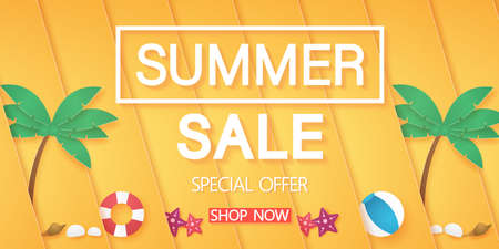 Summer sale, Abstract bright orange diagonal overlay background with summer stuff, paper art style