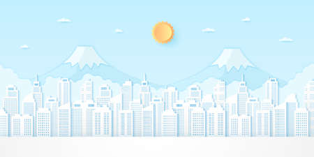 Cityscape, building and mountain with blue sky and bright sun, paper art style