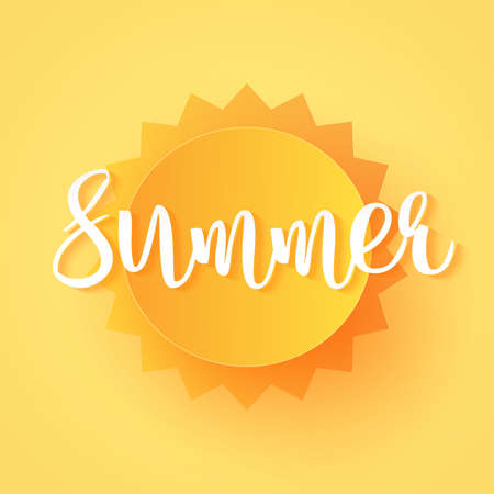 Bright sun and summer lettering, paper art style