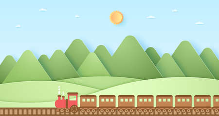 Transportation, Train, Nature hill, mountain with sun and blue sky, paper art style 向量圖像