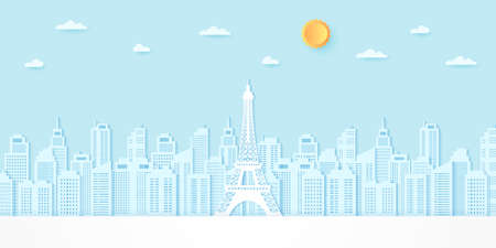 Eiffel tower among buildings with sun and cloud, paper art style 向量圖像