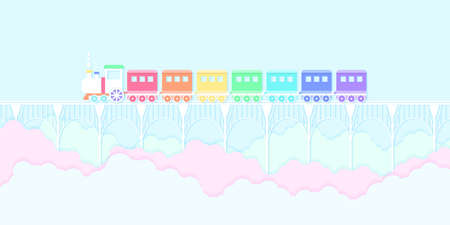 Transportation, rainbow color train running on the bridge with blue sky and colorful clouds, paper art style
