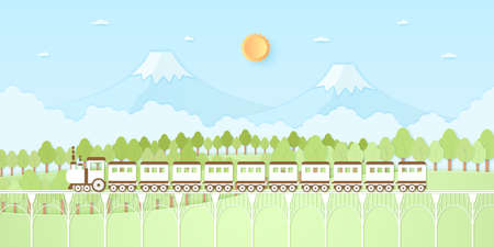 Nature hill, mountain, trees with sun and blue sky, Transportation, Train, paper art style 向量圖像