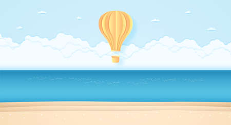 bright hot air balloon flying above sea in the blue sky and beach, paper art style