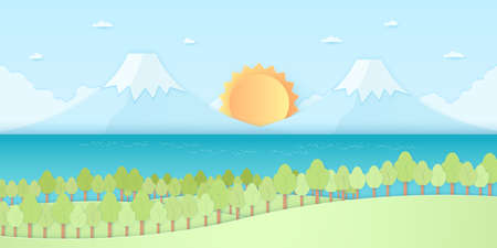 Nature hill, mountain and sea, trees with sun and blue sky, paper art style Ilustração