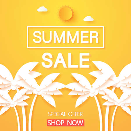 Summer sale, coconut palm tree with text and sun, paper art style