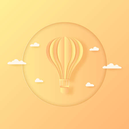 Summer, orange and yellow hot air balloon flying in the bright sky and cloud, paper art style