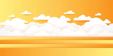 Summer Time, Cloudscape, bright sky, paper art style