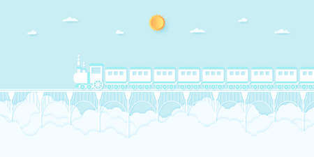 Transportation, Train running on the bridge with blue sky, paper art style 向量圖像