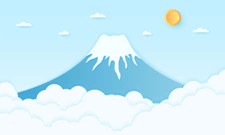 Mountain with bright sun and blue sky, paper art style