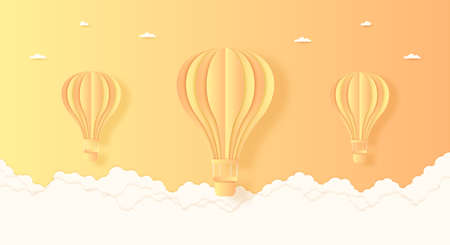 Summer, orange and yellow hot air balloons flying in the bright sky and cloud, paper art style