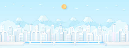 Electric high-speed train, transportation, Cityscape, Landscape, Building, mountain with blue sky and sun, paper art style 向量圖像