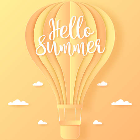 Hello Summer, orange and yellow hot air balloon flying in the bright sky and cloud, paper art style