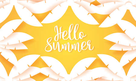 Hello Summer, coconut palm tree background, paper art style Stock Illustratie