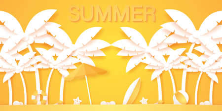 Summer time, coconut palm tree with summer stuff, paper art style Stock Illustratie