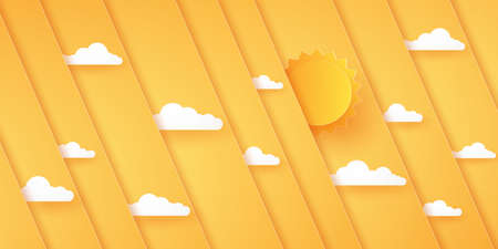Abstract bright orange diagonal overlay background with sun and cloud, paper art style