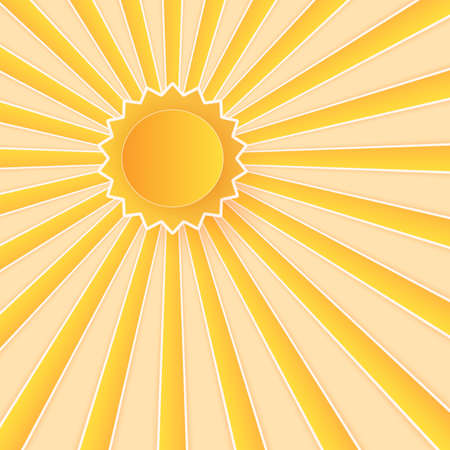 Summer Time, bright sky with sun, paper art style