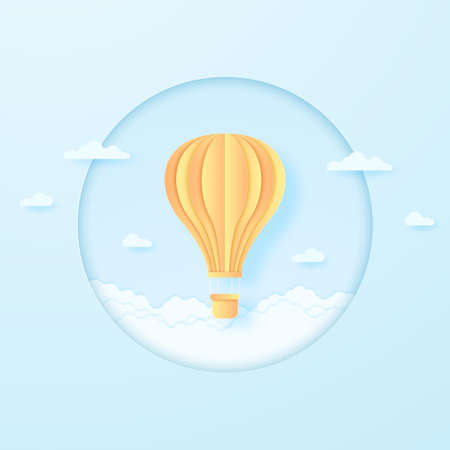 bright hot air balloon flying in the blue sky and cloudscape, paper art style