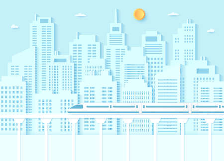 Electric high-speed train, transportation, Cityscape, buildings with blue sky and sun, paper art style